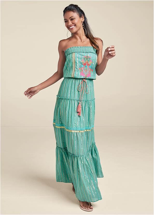 Embroidered Maxi Dress,Pearl By Venus® Strapless Bra,Raffia Bling Hoop Earrings