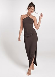 Full front view Halter Neck Maxi Dress
