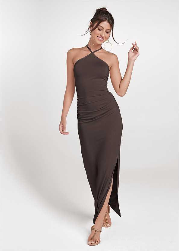 Halter Neck Maxi Dress,Rhinestone Thong Sandal