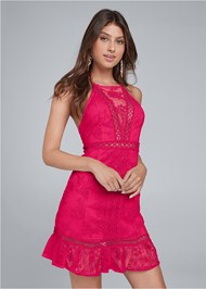 Cropped front view Lace Mini Dress