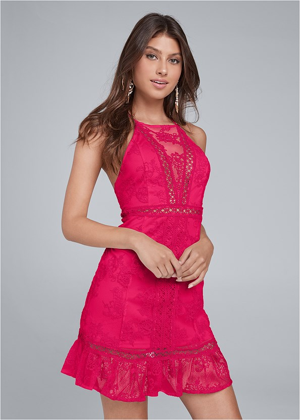Lace Mini Dress,High Heel Strappy Sandals,Cupid Backless Lace Up Bra,Nubra Ultralite