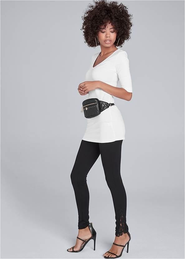 Lace Detail Leggings,Long And Lean V-Neck Tee,High Heel Strappy Sandals,Square Hoop Earrings,Quilted Belt Bag