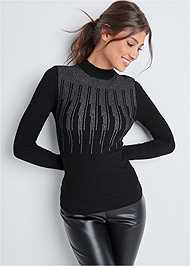 Cropped  view Turtleneck Sweater