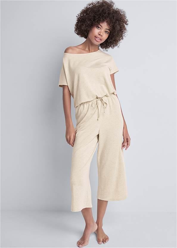 Cozy Off Shoulder Jumpsuit,Cozy Sleep Robe,Embellished Slides