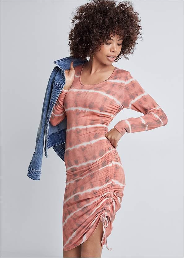 Long Sleeved Tie Dye Dress,Jean Jacket,Wrap Stitch Detail Booties