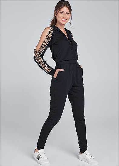 Animal Stripe Lace Up Jumpsuit