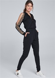 Front View Animal Stripe Lace Up Jumpsuit