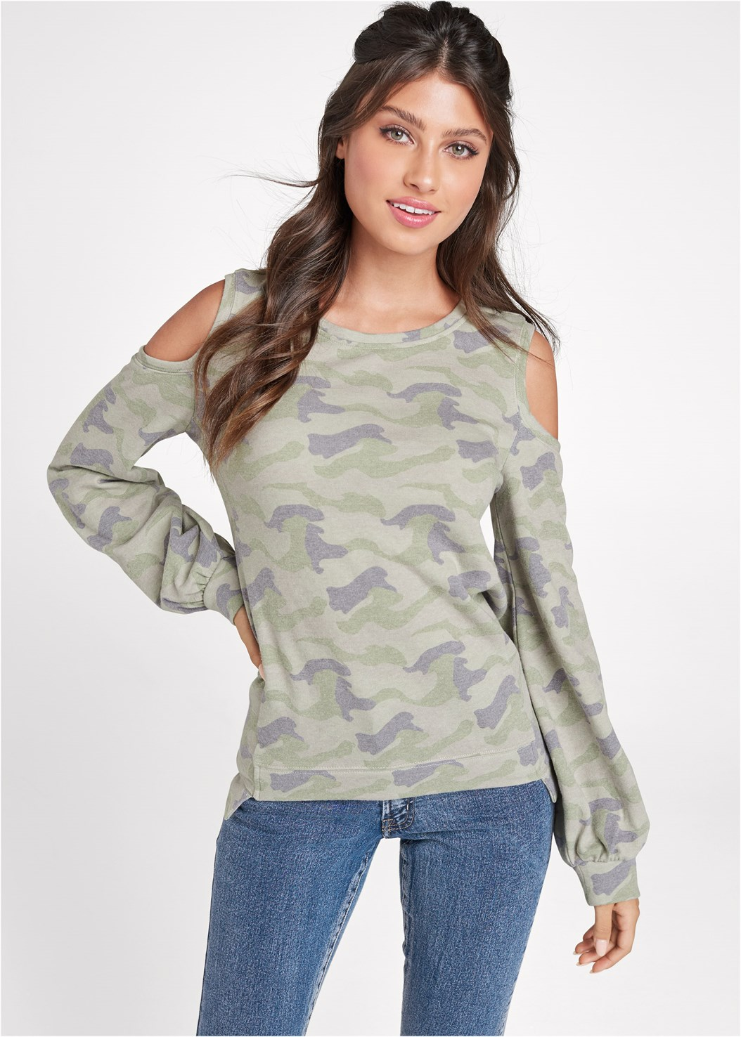 Camo Balloon Sleeve Sweatshirt,Mid Rise Color Skinny Jeans