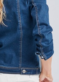 Detail back view Cold Shoulder Jean Jacket