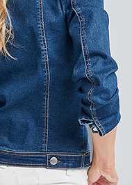 Detail back view Cold Shoulder Jean Jacket