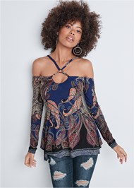 Front View Paisley Cold Shoulder Top