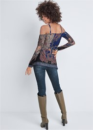 Full back view Paisley Cold Shoulder Top