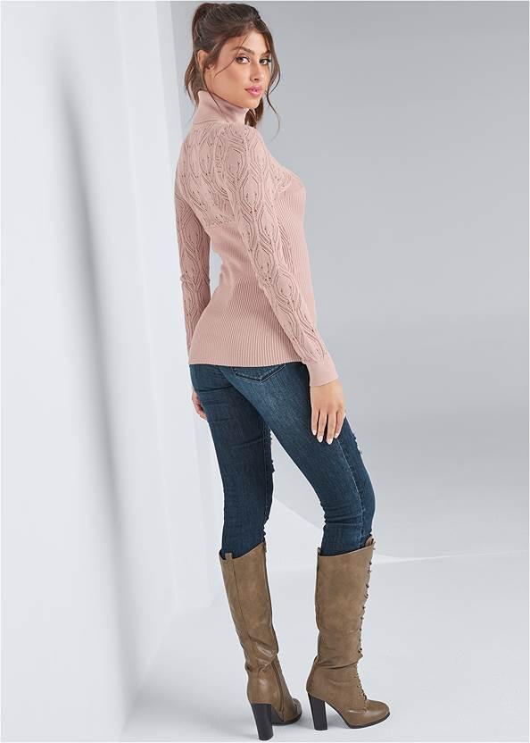 Full back view Pointelle Turtleneck Sweater