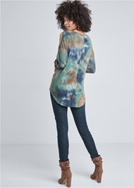 Back View Cold Shoulder Tie Dye Top
