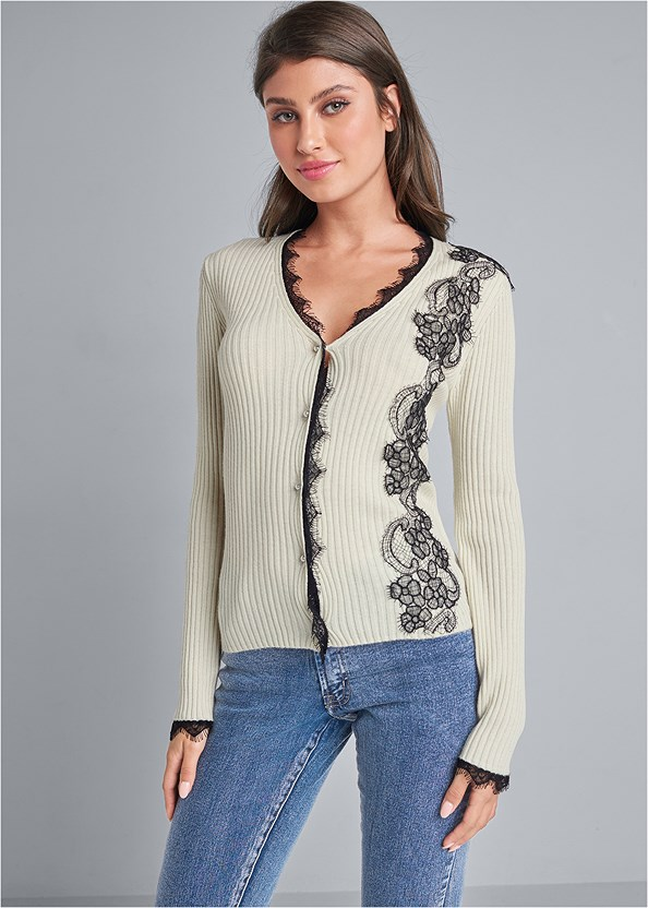 Lace Detail Cardigan,Mid Rise Color Skinny Jeans,Lace Detail Bootie