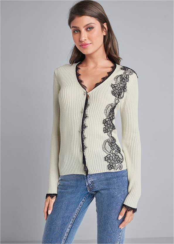 Lace Detail Cardigan,Mid Rise Color Skinny Jeans