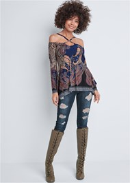 Full front view Paisley Cold Shoulder Top