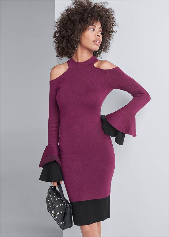 Color Block Sweater Dress,Quilted Handbag With Charm