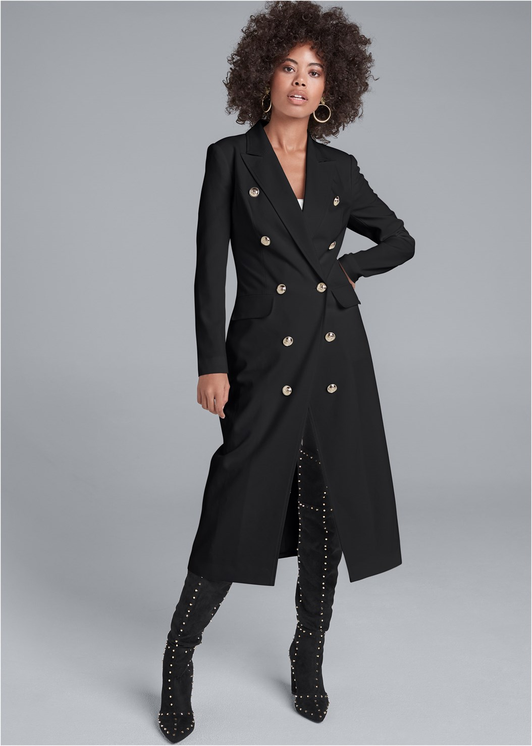 Long Double Breasted Jacket,Basic Cami Two Pack,Lace Cami,Mid Rise Slimming Stretch Jeggings,Pleated Sweater Dress,Kissable Convertible Bra,Studded Over The Knee Boots,Quilted Handbag With Charm,Stud Detail Tote Bag