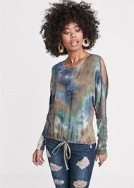 Front View Cold Shoulder Tie Dye Top