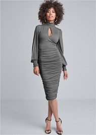 Front View Ruched Surplice Dress