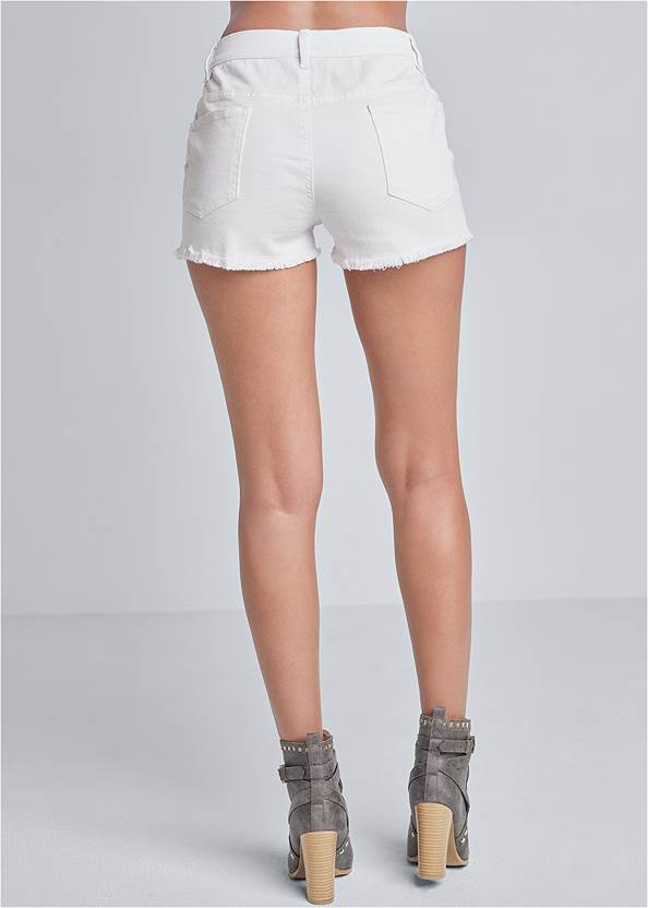 Back view Frayed Cut Off Jean Shorts