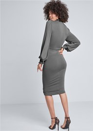 Back View Ruched Surplice Dress