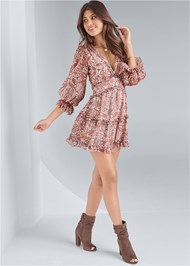 Full front view Paisley Print Tiered Open Back Mini Dress