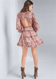 Full back view Paisley Print Tiered Open Back Mini Dress