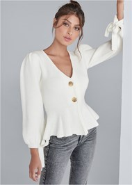 Cropped front view Peplum Cardigan
