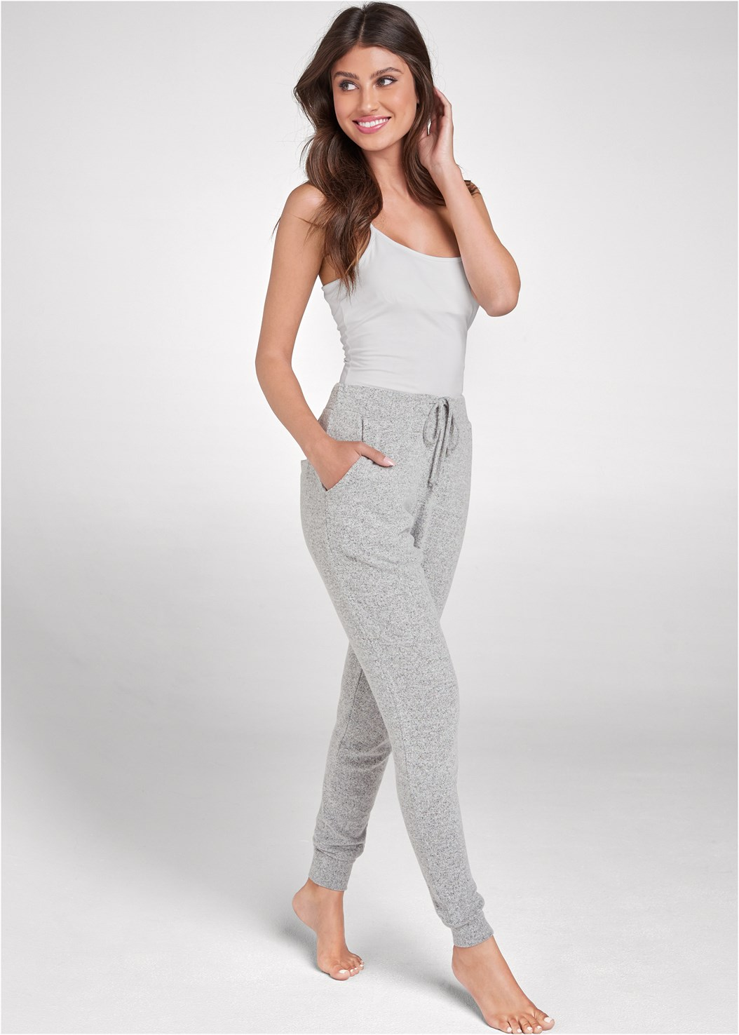 Cozy Lounge Hacci Joggers,Basic Cami Two Pack,Lace Cami,Cozy Knot Detail Hacci Sweatshirt,Full Figure Strapless Bra