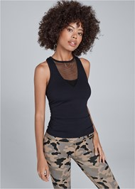 Cropped Front View Front Mesh Active Tank