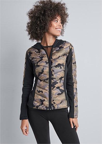 Camo Print Puffer Detail Jacket