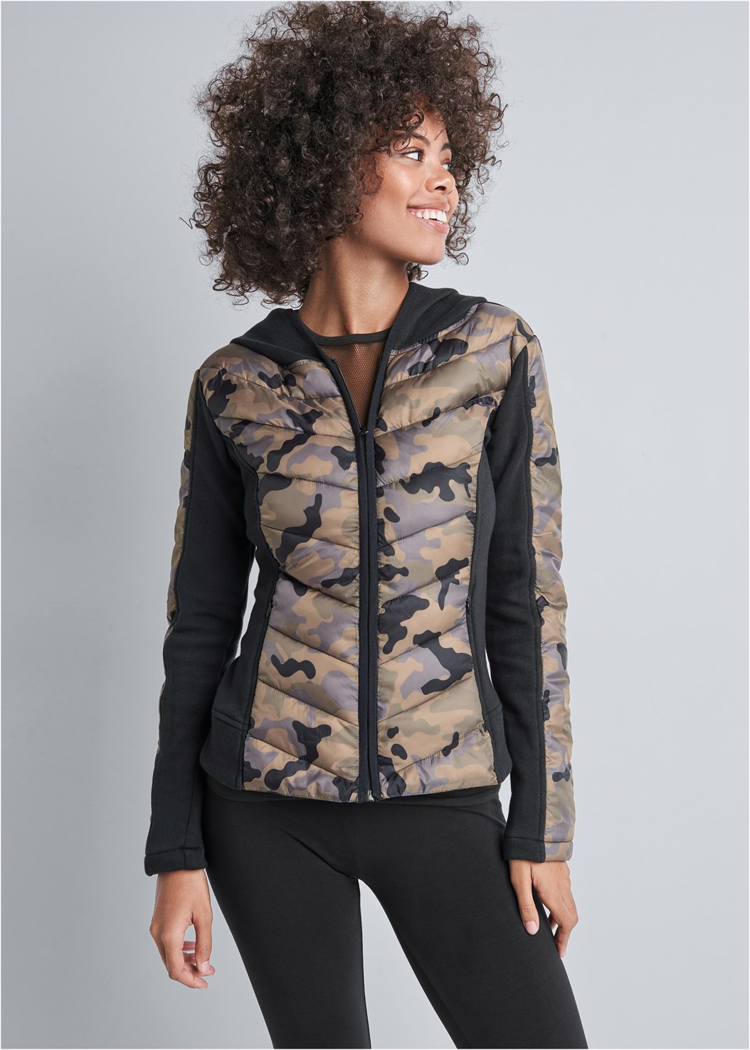 Camo Print Puffer Detail Jacket,Front Mesh Active Tank,Basic Leggings