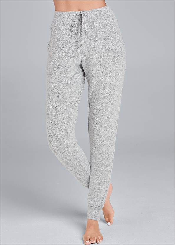 Front View Cozy Lounge Hacci Joggers