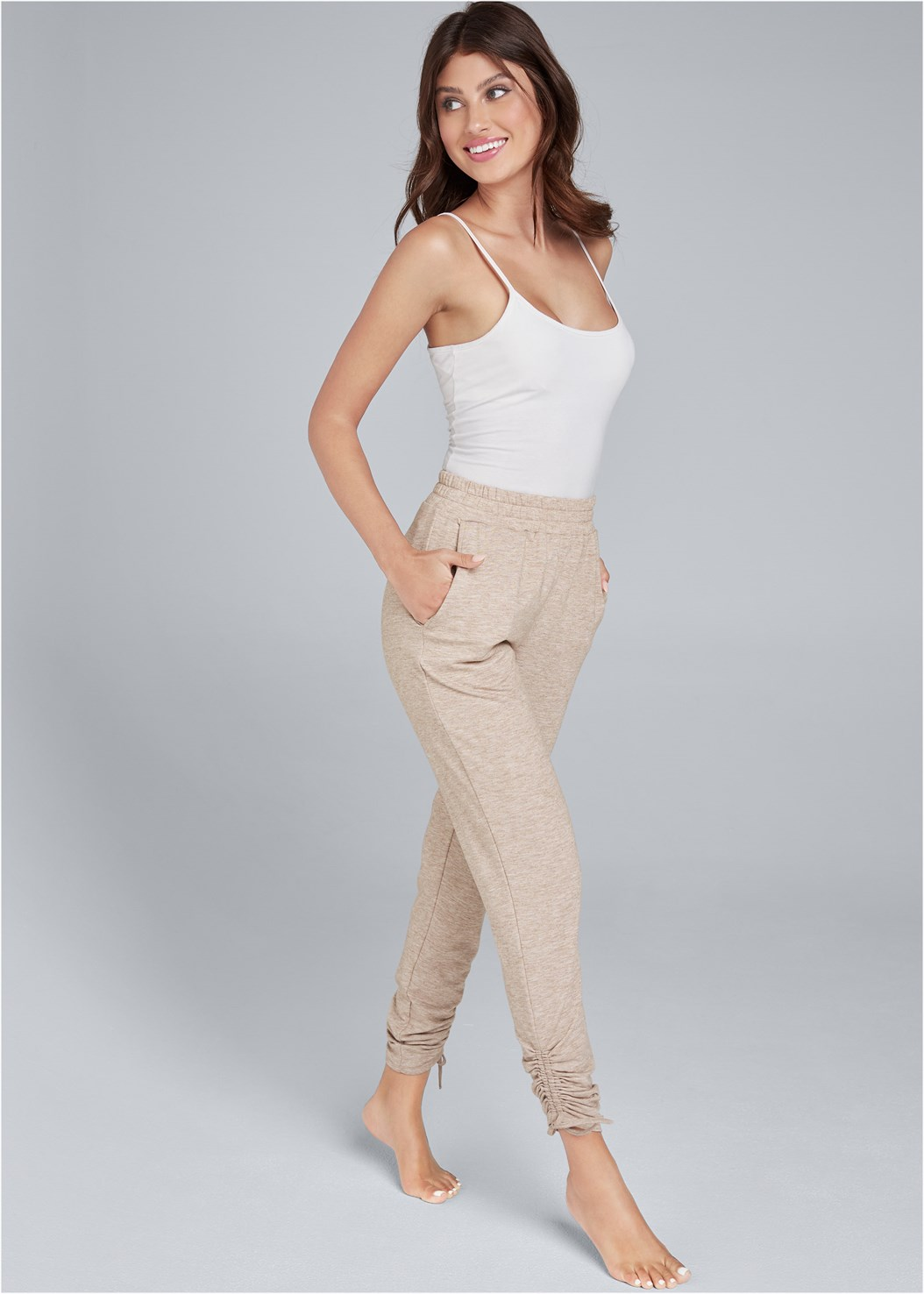 Cozy Drawstring Tie Joggers,Basic Cami Two Pack,Seamless High Neck Top