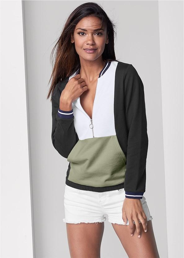 Color Block Sweatshirt,Frayed Cut Off Jean Shorts,Naked T-Shirt Bra,Embellished Slides