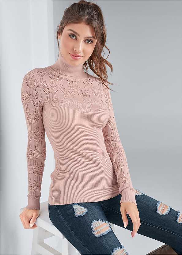 Pointelle Turtleneck Sweater,Ripped Skinny Jeans,Mid Rise Color Skinny Jeans