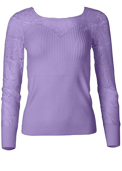 Plus Size Lace Sleeve Sweater