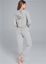 Back View Cozy Knot Detail Hacci Sweatshirt