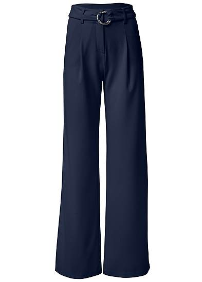Plus Size Smoothing Belted Side Slit Pants