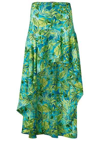 Plus Size Palm Print High Low Skirt