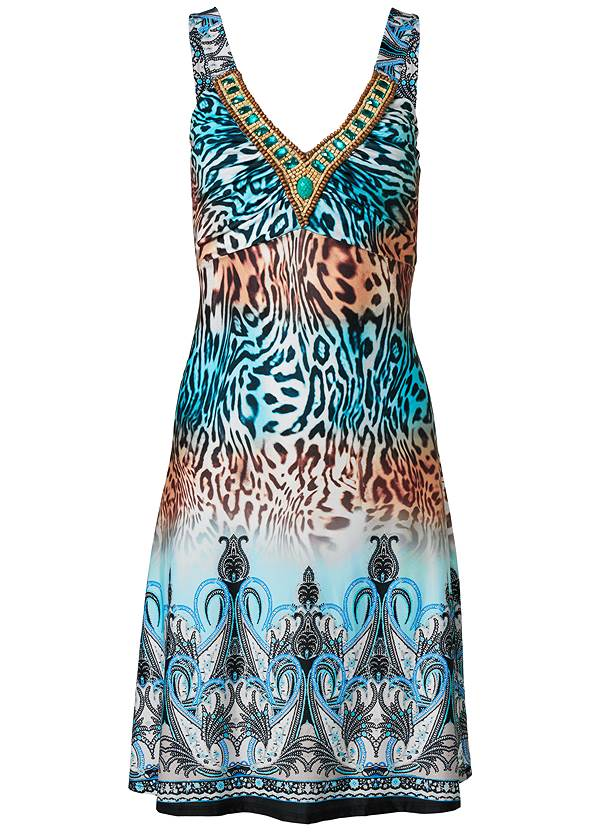 Ghost with background  view Embellished Animal Print Mini Dress