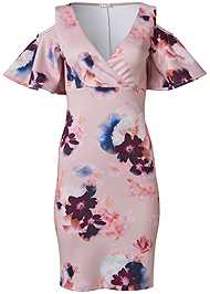 Ghost with background  view Cold Shoulder Floral Dress