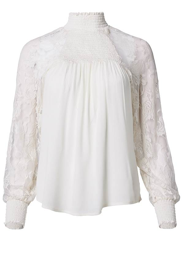 Ghost with background  view Lace Sleeve Smocked Top