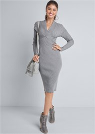 Full Front View Midi Sweater Dress