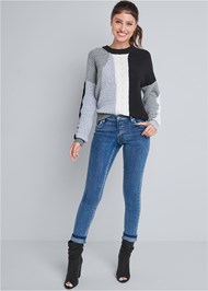 Full front view Color Blocked Sweater