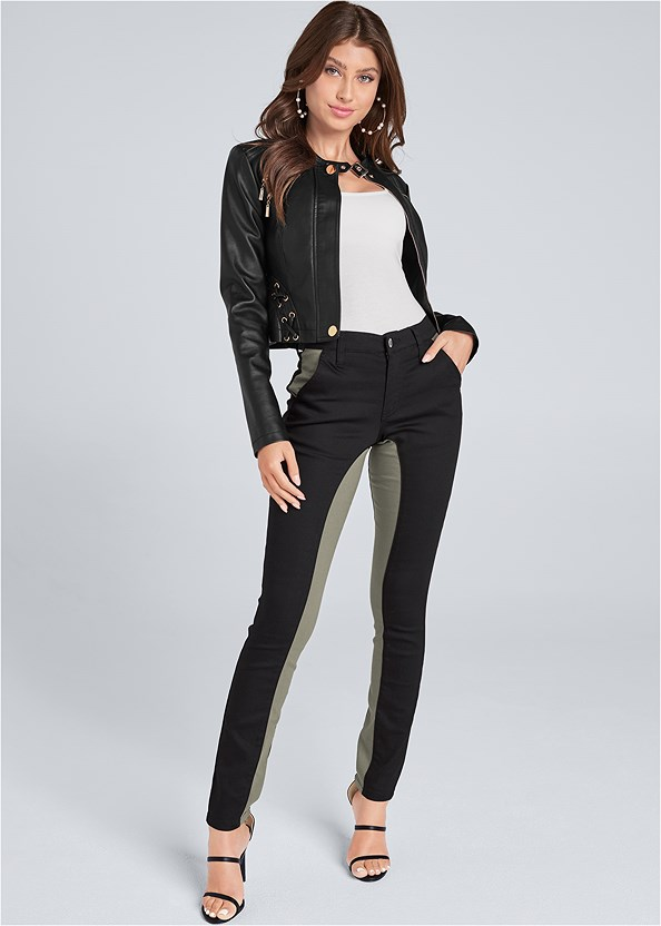Color Block Pants,Basic Cami Two Pack,Faux Leather Lace Up Jacket,High Heel Strappy Sandals,Ankle Strap Heels