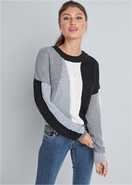 Cropped front view Color Blocked Sweater