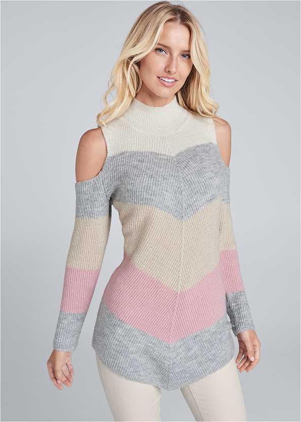 Striped Cold Shoulder Sweater,Mid Rise Color Skinny Jeans,Seamless Unlined Bra,Fringe Bucket Bag